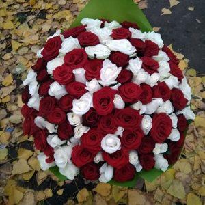 букет на ювілей 101 червона та біла троянда