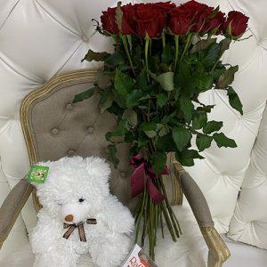 Ведмедик з букетом троянд і Raffaello