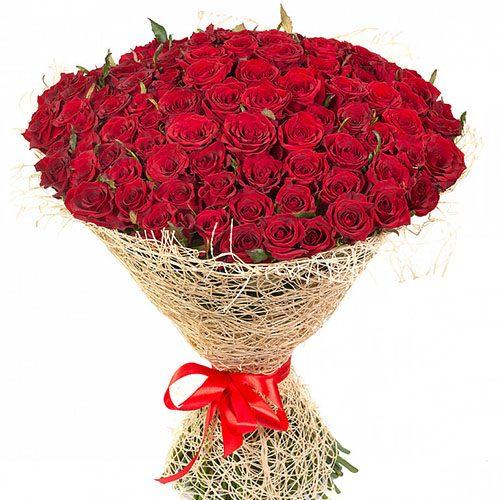букет 101 красная роза фото