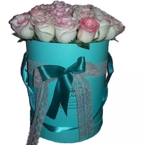 21 элитная розовая роза в фирменной упаковке