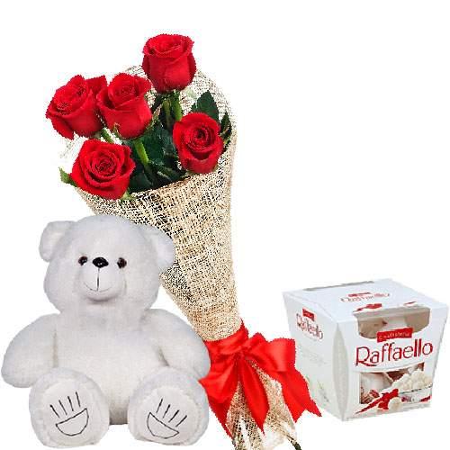 "товар Мишка с букетом роз и ""Raffaello"""