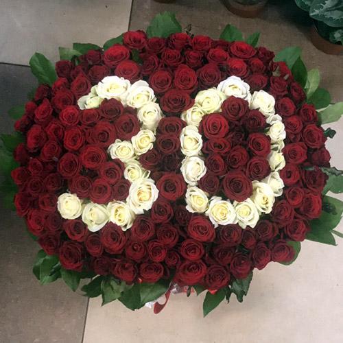 Фото товара 101 роза с числами в корзине в Ужгороде
