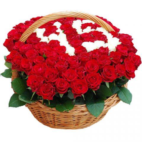 101 роза с числами в корзине