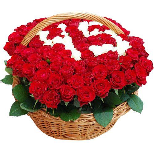 101 роза с числами в корзине фото