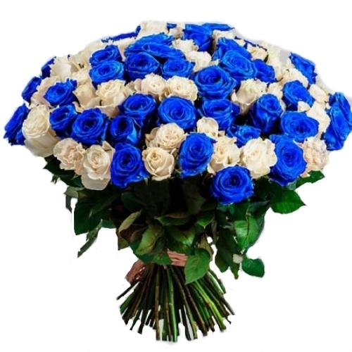 101 біла та синя троянда фото товару