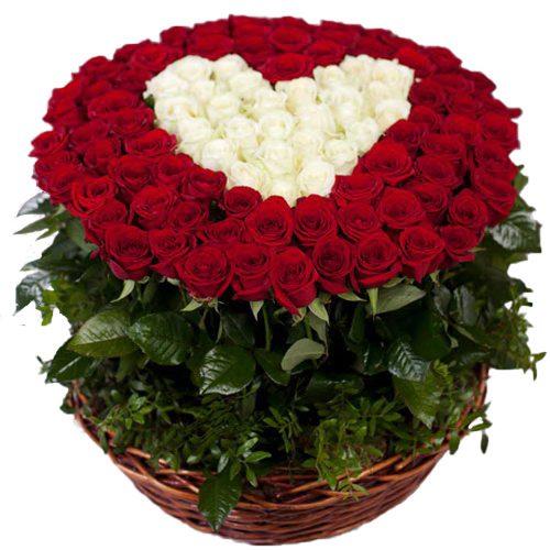 """букет 101 троянда """"Серце в кошику"""""""