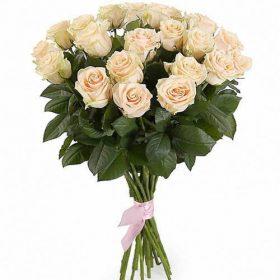фото букета 21 кремова троянда