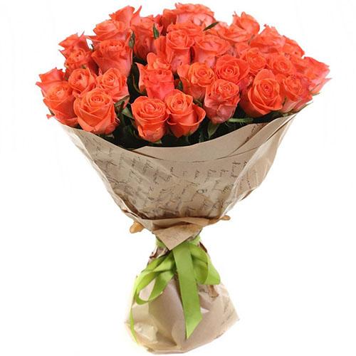 "букет 51 помаранчева троянда ""Вау"""