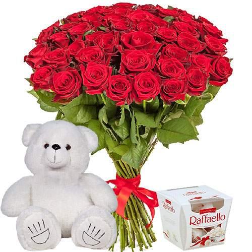 """товар 51 троянда, ведмедик і """"Raffaello"""""""