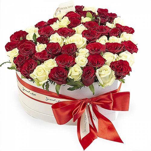 51 троянда серце у спеціальній коробці фото товару