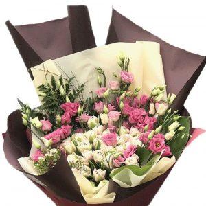 картинка Кустовая роза с эустомой