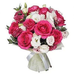 """Букет """"Полуниця з вершками"""" троянди з еустомою"""