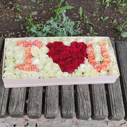 "Фото товара 101 троянда в коробці ""I love you"" в Ужгороде"