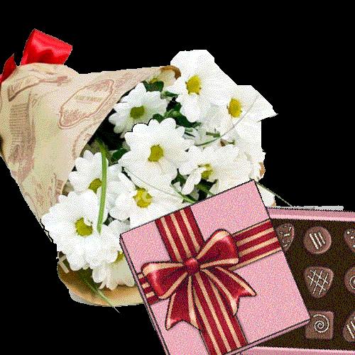 Фото товара 3 хризантемы с конфетами в Ужгороде