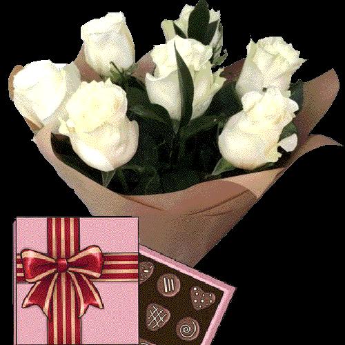 Фото товара 7 белых роз с конфетами в Ужгороде