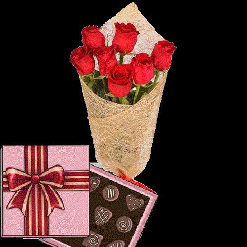 Фото товара 7 красных роз с конфетами в Ужгороде