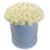 Фото товара 101 троянда біла в капелюшній коробці в Ужгороде