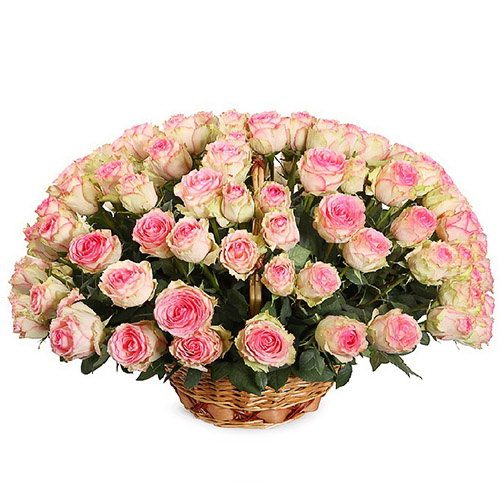 Фото товара 101 рожева троянда в кошику в Ужгороде