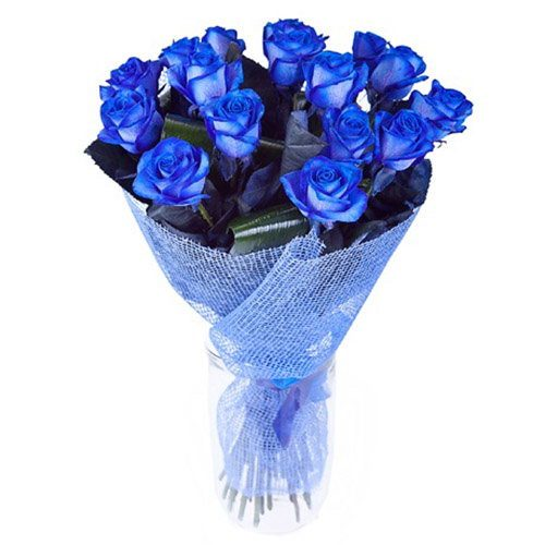 Фото товара 17 блакитних троянд (фарбованих) в Ужгороде