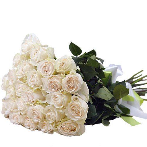 Фото товара 25 білих троянд в Ужгороде