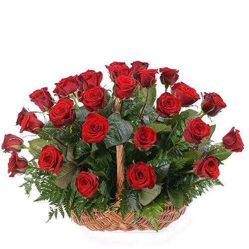 Фото товара 35 червоних троянд у кошику в Ужгороде