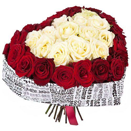 Фото товара 51 роза сердцем в Ужгороде