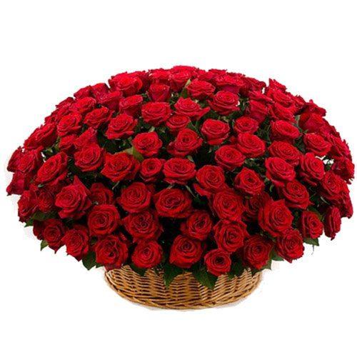 Фото товара Кошик 101 червона троянда в Ужгороде