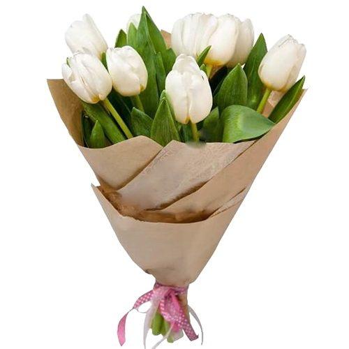 Фото товара 11 білих тюльпанів в Ужгороде
