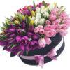 Фото товара 151 тюльпан у капелюшній коробці в Ужгороде