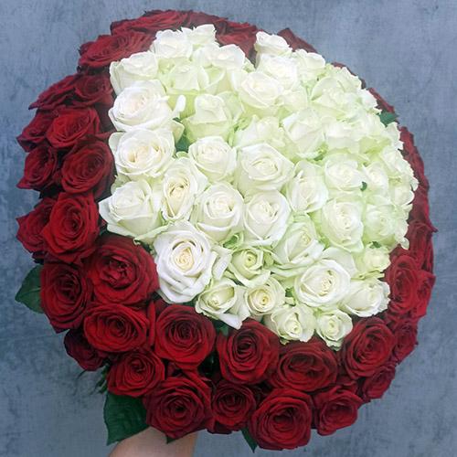Фото товара Серце 101 троянда - червона та біла в Ужгороде