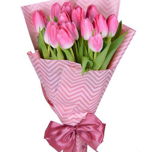 Фото товара 15 розовых тюльпанов в Ужгороде