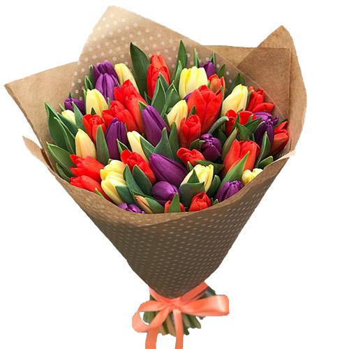 букет 25 тюльпанов микс