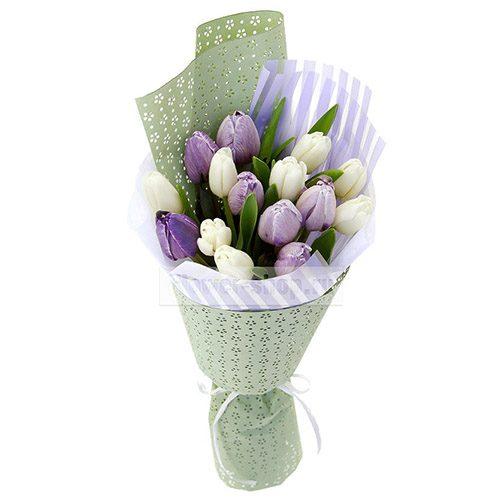 Фото товара 15 бело-фиолетовых тюльпанов в Ужгороде