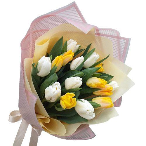 Фото товара 15 біло-жовтих тюльпанів в Ужгороде