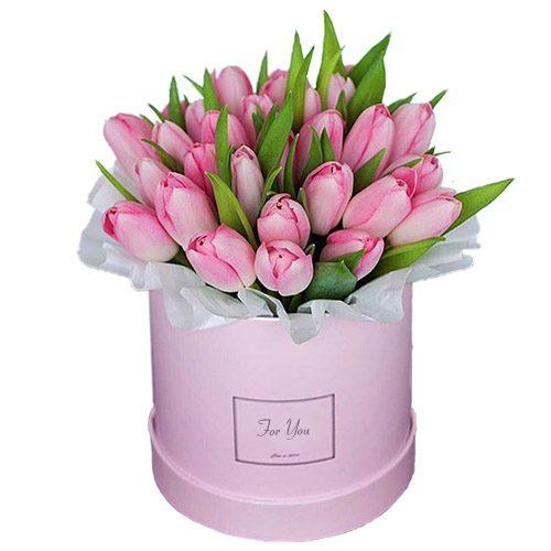Фото товара 31 ніжно-рожевий тюльпан у коробці в Ужгороде
