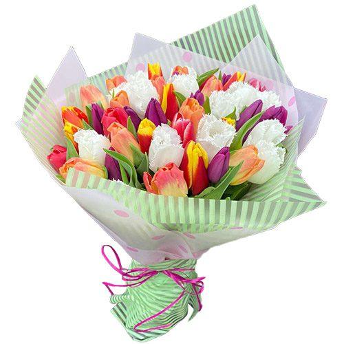 """Фото товара 45 тюльпанов """"Махровый микс"""" в Ужгороде"""