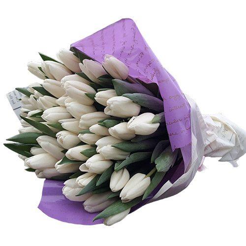 """Фото товара 45 белых тюльпанов """"Ангел мой"""" в Ужгороде"""