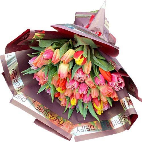 "Фото товара Букет ""Багряне сонце"" (51 тюльпан) в Ужгороде"