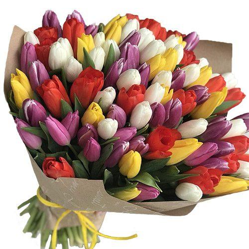 Фото товара 101 тюльпан мікс (4 кольори) у крафт в Ужгороде