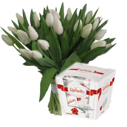 """Фото товара 21 тюльпан и """"Raffaello"""" в Ужгороде"""