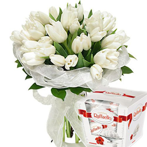 """Фото товара 25 тюльпанів і """"Raffaello"""" в Ужгороде"""