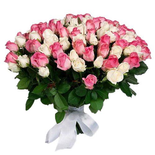 Фото товара 101 белая и розовая роза в Ужгороде