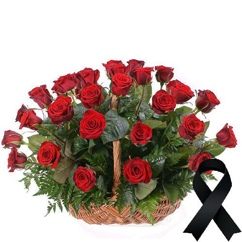 Фото товара 36 червоних троянд у кошику в Ужгороде