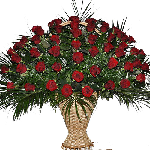 Фото товара Корзина 100 роз в папоротнике в Ужгороде