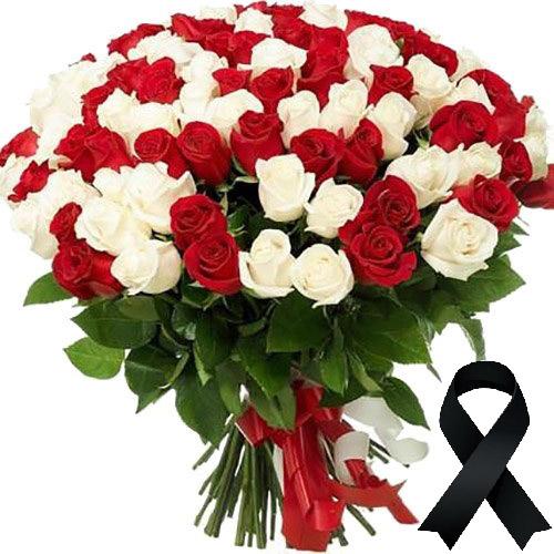 Фото товара 100 червоно-білих троянд в Ужгороде
