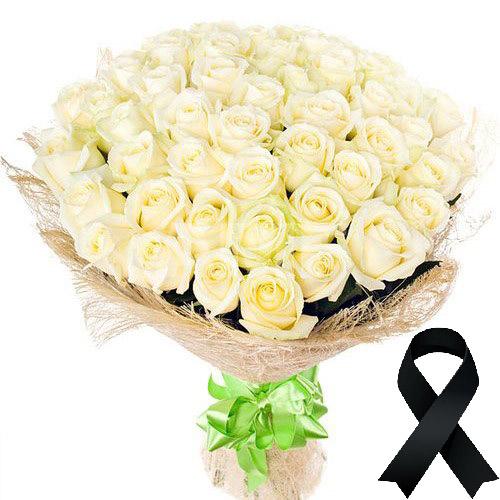 Фото товара 50 білих троянд в Ужгороде